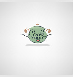 Home food logo image of cooking pot and hand vector