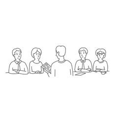 Hr interview sketch employee screening talking vector