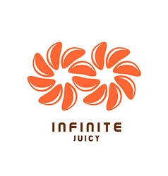 Infinity symbol logo from juicy orange tangerine vector image