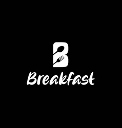 Initial letter b breakfast with spoon fork vector