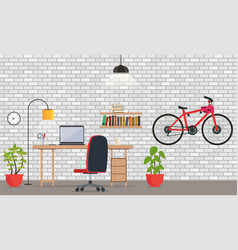 Interior of office or room with white brick wall vector