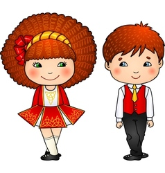 Irish dancing kids in traditional costumes vector image