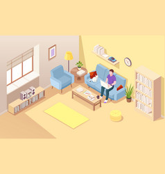 isometric living room with man freelancer vector image