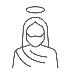 Jesus thin line icon christianity and god christ vector