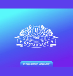 label on color gradient background vintage logo vector image