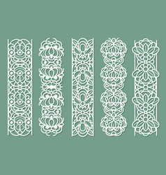 Lace borders seamless ornamental panels with vector