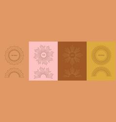 Linear art deco sun symbols boho decoration vector