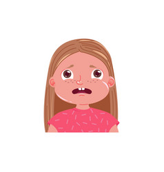 Little girl cute is afraid scared emotion child vector