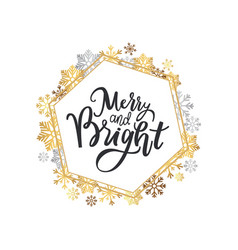 merry and bright print lettering wreath snowflakes vector image