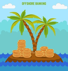 money hidden on the island in offshore zone Tax vector image