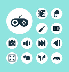 Multimedia icons set collection of song list vector