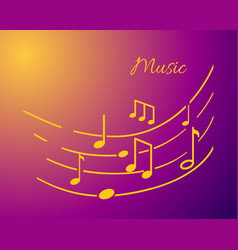 Music notation with lines and notes sounds text vector