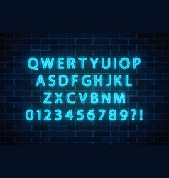 Neon style font glowing neon alphabet letters on vector