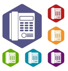 Office business keypad phone icons set vector