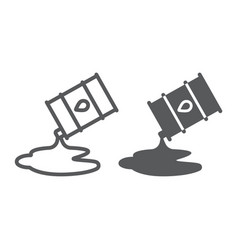 Oil spill line and glyph icon fuel and storage vector