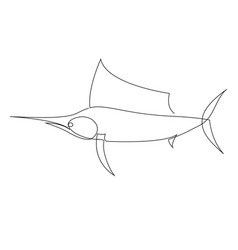 one line marlin design silhouette hand drawn vector image