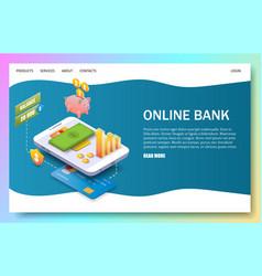 Online bank landing page website template vector
