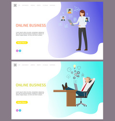 online business woman working on laptop web set vector image
