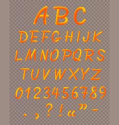 orange liquid neon font icon set vector image