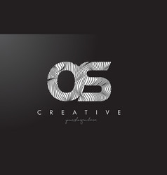Os o s letter logo with zebra lines texture vector
