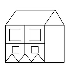 outline big house with square windows and roof vector image