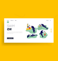 People swimming with dolphins landing page vector
