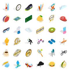 premium icons set isometric style vector image