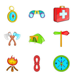 Promenade in forest icons set cartoon style vector