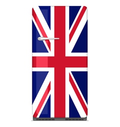 Retro fridge with UK flag vector image