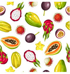 seamless pattern with exotic tropical fruits vector image