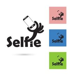 Selfie word logo elements design vector image
