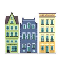 Set 3 amsterdam old houses cartoon facades vector