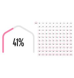 Set circular sector hexagonal shape percentage vector