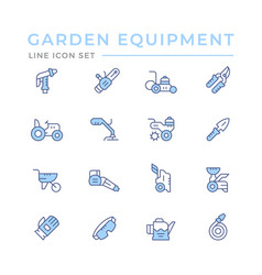 set color line icons garden equipment vector image