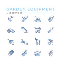 Set color line icons garden equipment vector