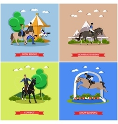 Set horse theme flat design vector