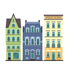 set of 3 amsterdam old houses cartoon facades vector image