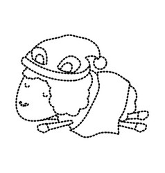 sheep animal with sleeping cap and wrapped in a vector image