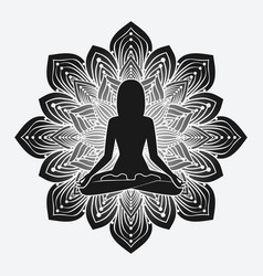 silhouette meditating girl in yoga pose on vector image