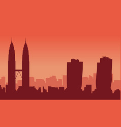 silhouette of malaysia city landscape art vector image