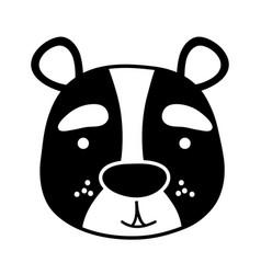 Silhouette smile bear head wild animal vector