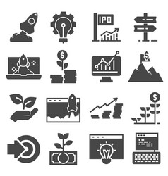 start up business icon set isolated on white vector image