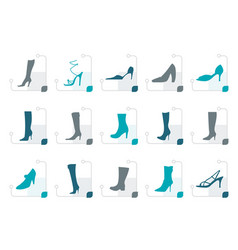 stylized shoe and boot icons vector image