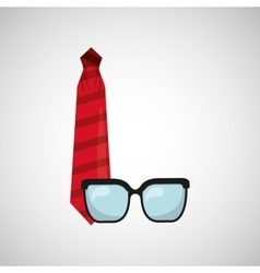 symbol fathers day tie glasses icon design vector image