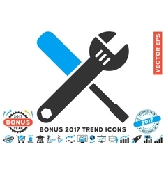 Tools Flat Icon With 2017 Bonus Trend vector image