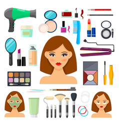 tools for makeup and beaty vector image