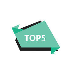 Top5 text in label black green vector