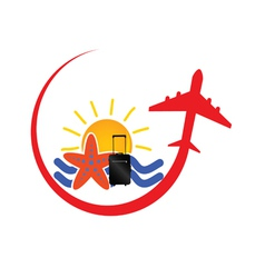 Travel icon with airplane red vector