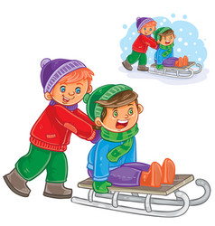 Two boys friends ride a sled vector