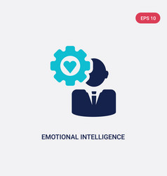 Two color emotional intelligence icon from human vector